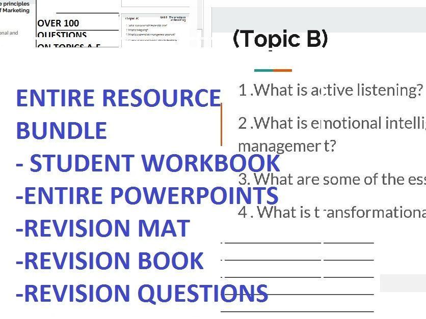UNIT 6  PRINCIPLES OF MANAGEMENT RESOURCE BUNDLE powerpoints, revision activities, workbooks, questions, revision, model answers