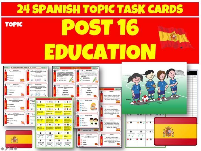 Post 16 Education Spanish MFL Task Cards