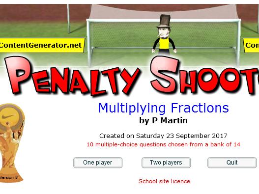 Starter/Plenary Multiplying Fractions Game