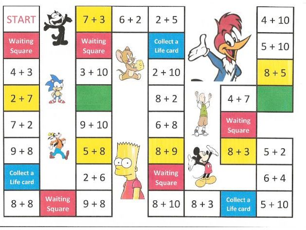 Number bonds to 10 board game