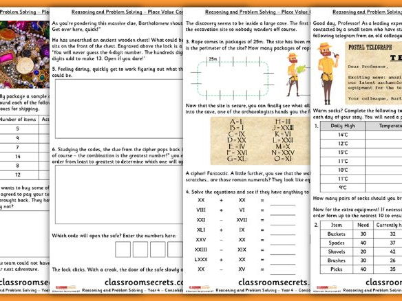 Place Value Consolidation Year 4 Block 1 WRM Reasoning and Problem Solving