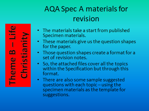 AQA GCSE Spec A Revision materials - Theme B Religion and Life - Christianity