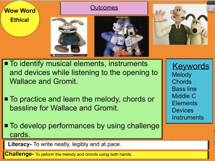Wallace and Gromit (Lesson Bundle) listening starter and keyboard activity with activinspire ppt