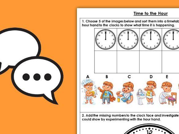 Year 1 Time to the Hour Summer Block 6 Maths Discussion Problems