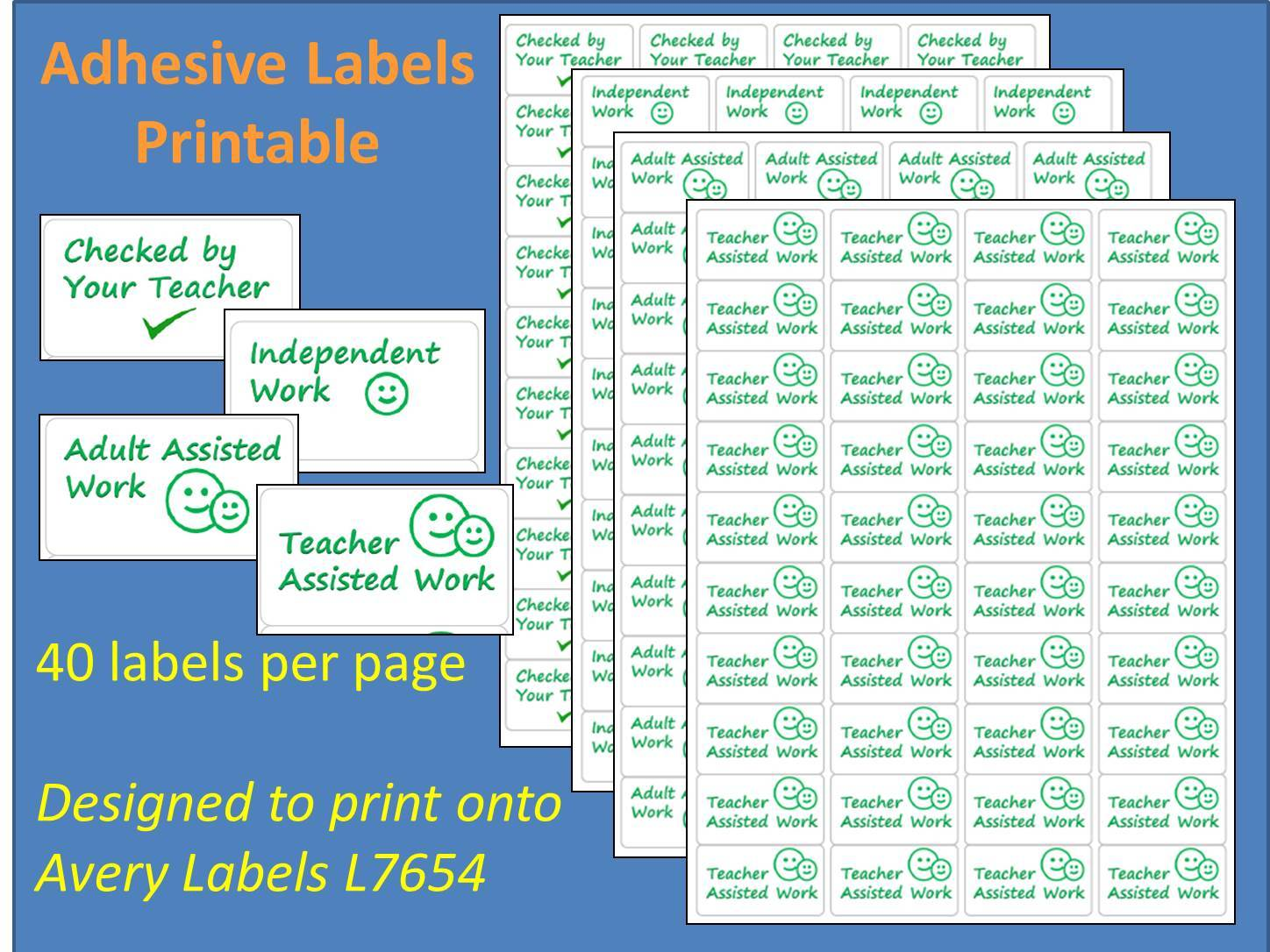 Marking Adhesive Labels Printable Time Saving Sticky Label L7654 Adult Assisted Teacher Assisted Independent Work Checked by Your Teacher