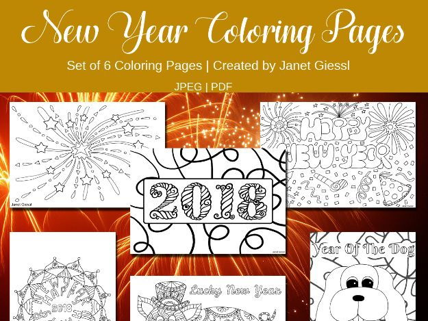 New Year Coloring Pages 2018 - Set of 6