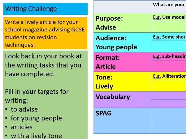 GCSE English; writing to advise, a lively article