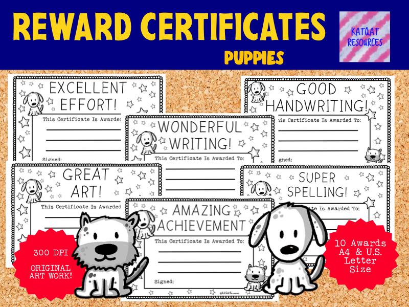 Printable Black And White Puppy Reward Certificates