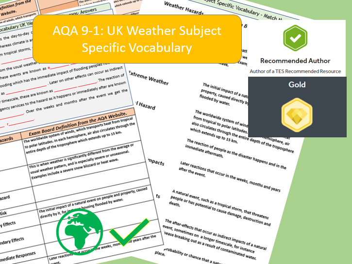 AQA 9-1 GCSE Geography - UK Weather Hazards, Key Vocabulary Literacy Activity Sheets