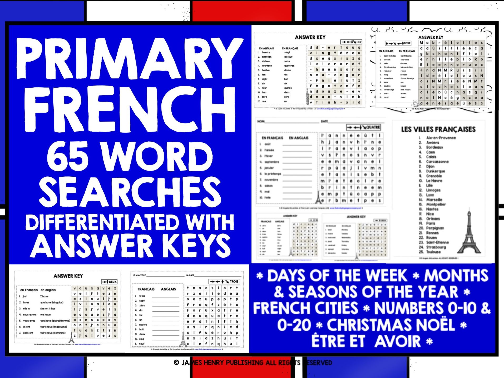 PRIMARY FRENCH WORD SEARCHES BUNDLE #1