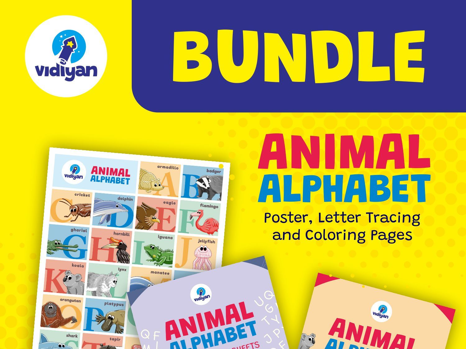Animal Alphabet Bundle - Poster, Coloring Pages and Letter Tracing Worksheets