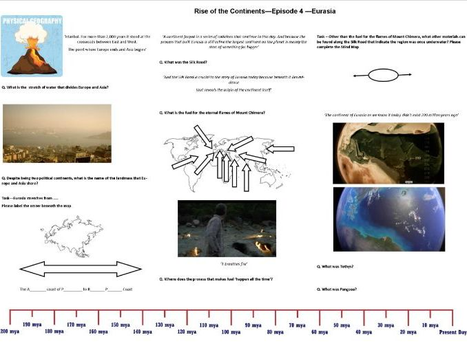 BBC - Rise of the Continents - Ep 4 Eurasia - Iain Stewart - Worksheet