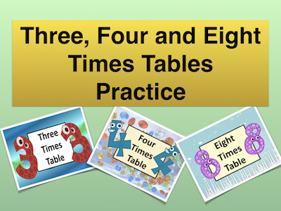 Three, Four and Eight Times Table Practice