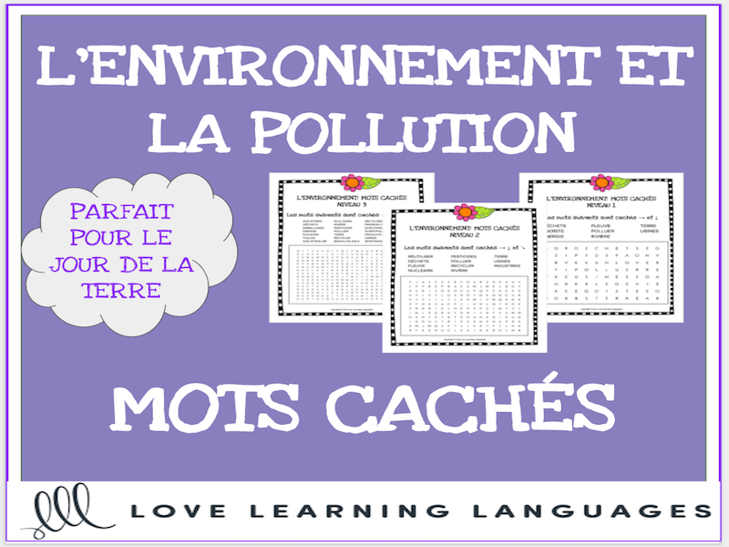 L'environnement - French word searches - Le Jour de la Terre - Earth Day