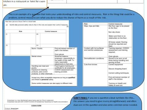 WJEC Level 1/2 Hosp and Catering Award exam revision criteria, tasks and past questions LO1