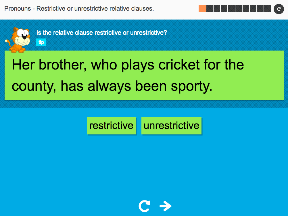 Restrictive or unrestrictive relative clauses - Interactive Activity - KS3 Spag