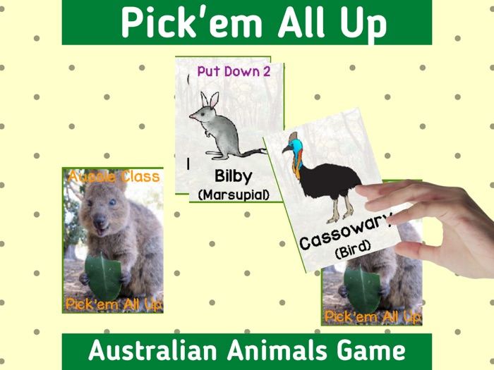 Australian Animal Classification Card Game Pick Them All Up Fun Holiday Activity