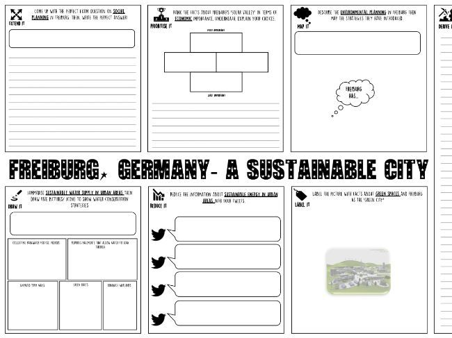 Sustainable cities including Freiburg worksheets & lesson