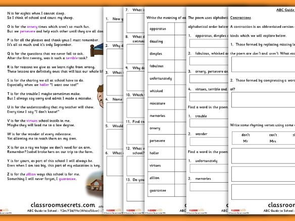 Back to School Poetry Guided Reading Text and Activities LKS2