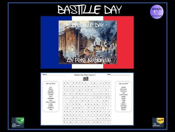 The French Revolution / La Fête Nationale / Bastille Day Word Search