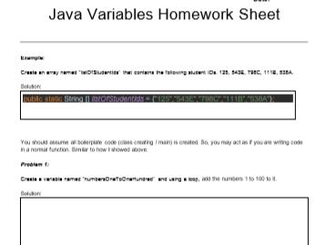 Intermediate Java Coding - Homework Worksheet II