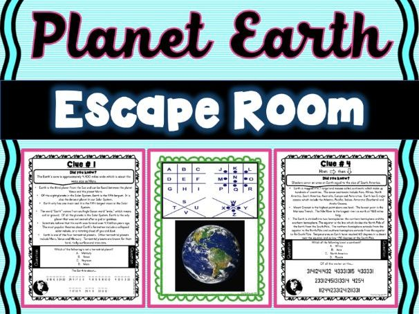Earth ESCAPE ROOM! - Earth Science - planets - NO PREP, PRINT & GO!