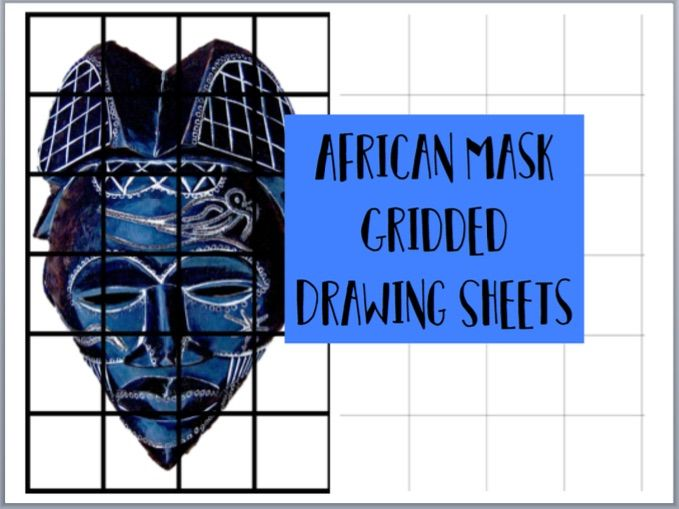 AFRICAN MASK gridded drawing sheets cover / homework