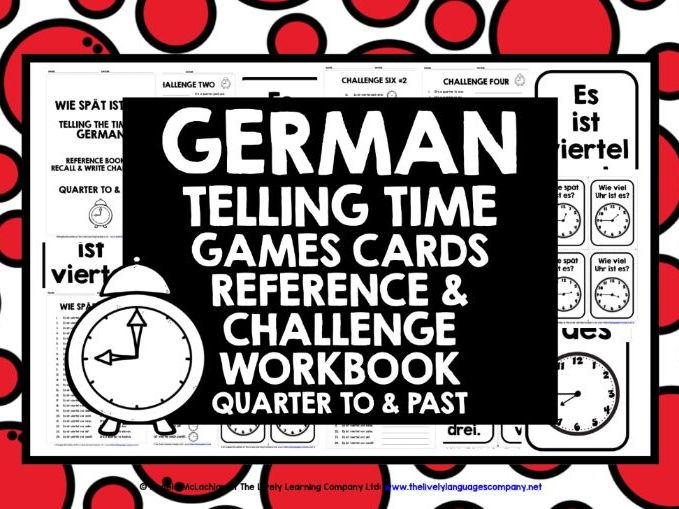 GERMAN TIME GAMES CARDS & WORKBOOK QUARTER TO & PAST