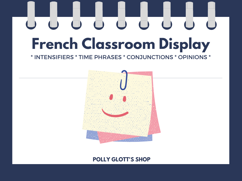 Intensifiers/Time Phrases/Conjunctions/Opinions: French Classroom Display