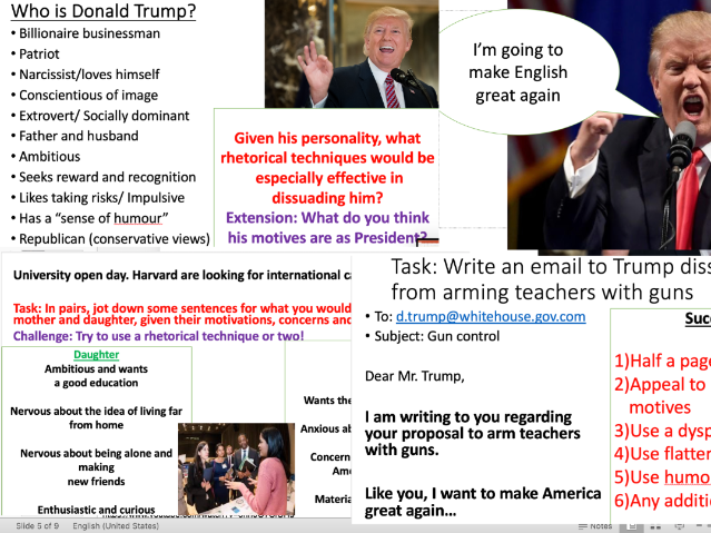 Non-Fiction Persuasive Writing - Appealing to Audience - Dissuading Mr. Trump!