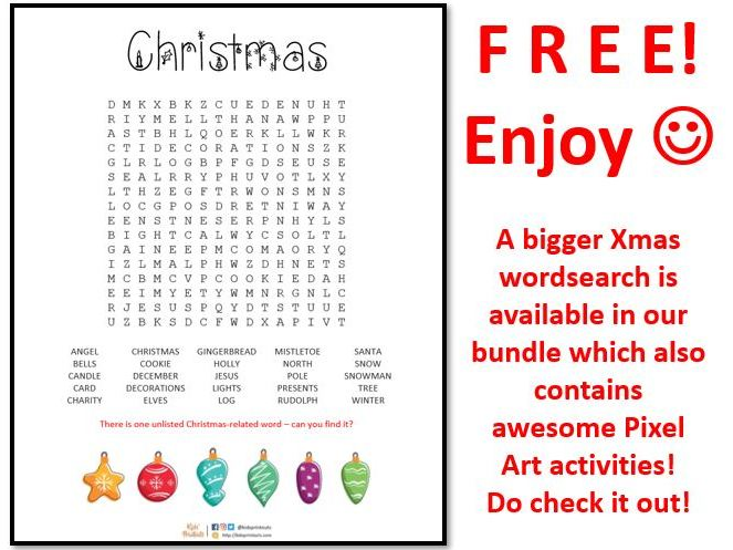 Christmas wordsearch - 25 terms to find - FREE version