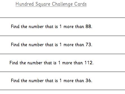 Hundred Square Challenge Cards