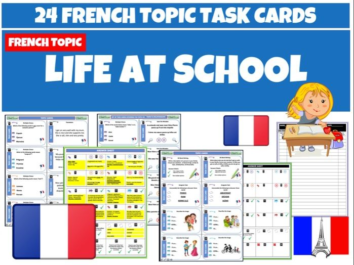 Life at School MFL French Task Cards
