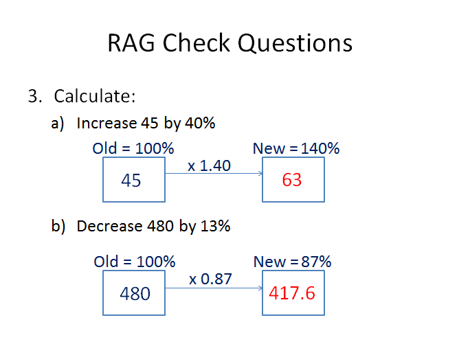 Percentages of Quantities - Calculator Methods - inc Reverse Percentage Change and Compound Interest