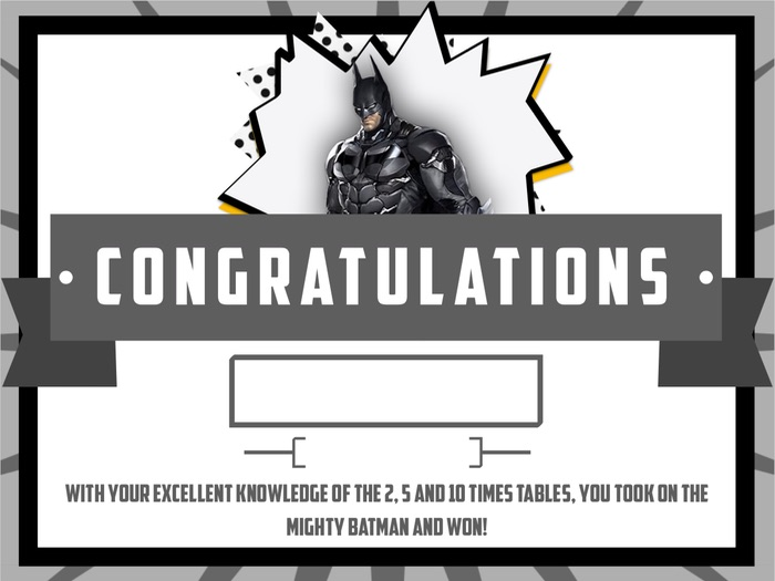 Superhero Times Table Tests Certificates