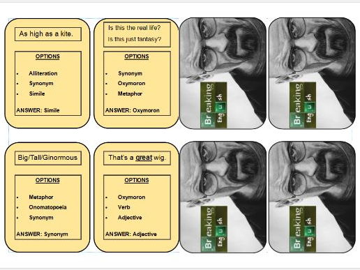 Language Devices Revision Cards Exercise