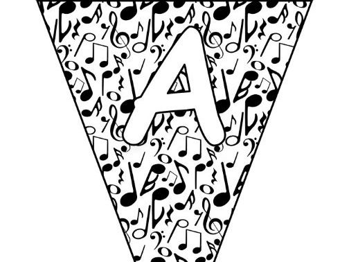 Printable bunting display bulletin letters numbers and more: Music Notes