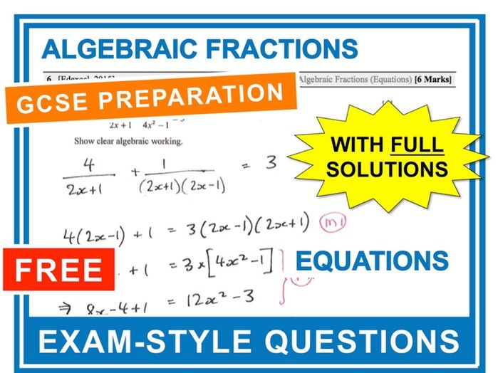 GCSE 9-1 Exam Question Practice (Algebraic Fractions - Equations)