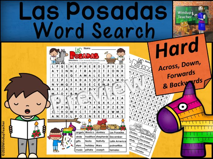 Las Posadas Word Search | HARD Puzzle | Ready to Go!