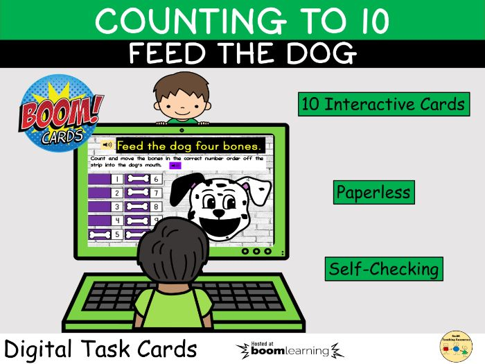 Counting to 10 Feed Me Dog Bones Game BOOM Cards™ Distance Home Learning