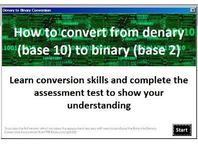 Denary to Binary Conversion