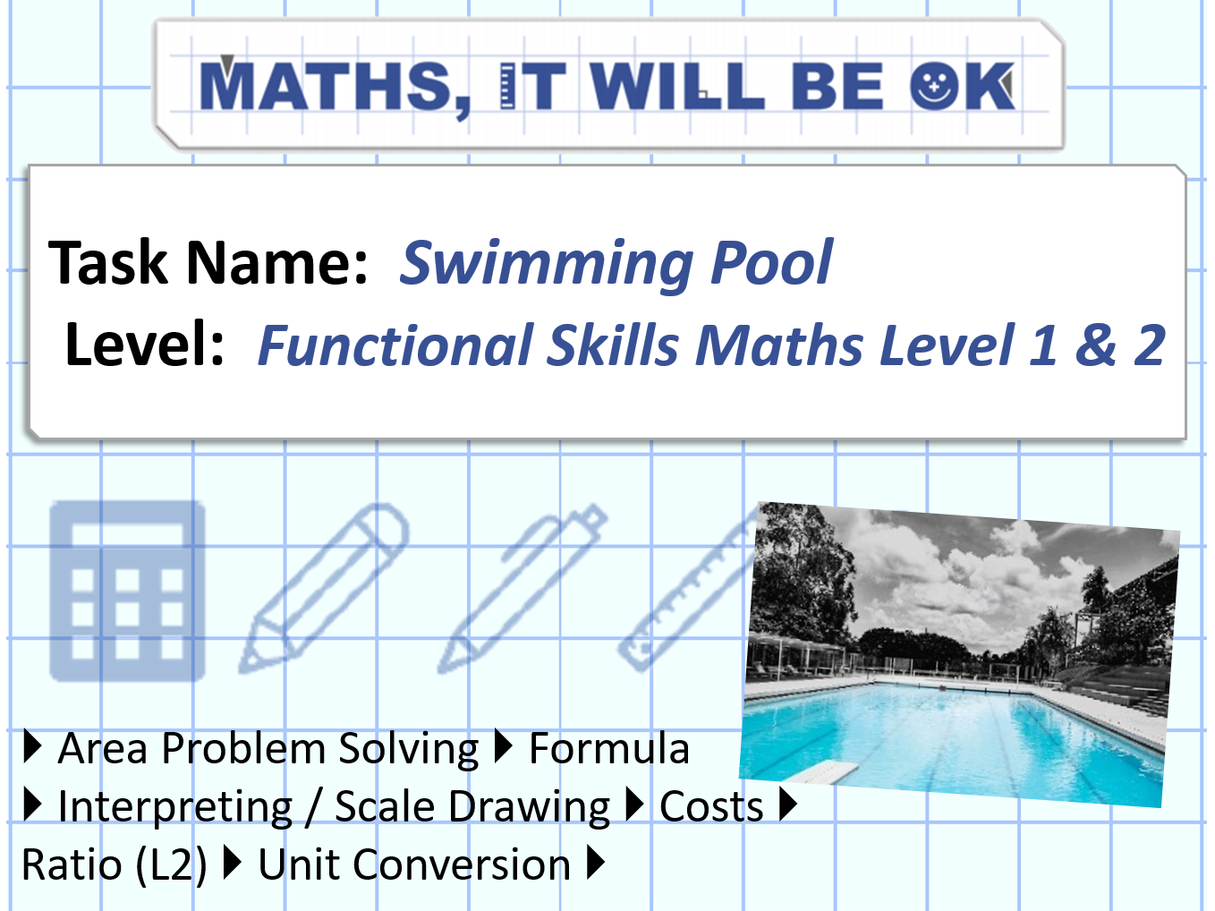 FS Maths Level 1 and 2 - Scale - Swimming Pool - Exam Style