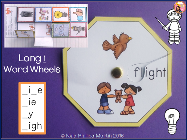 Long i words with i-e, igh, y and ie: word wheels and foldables