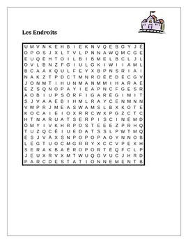 Endroits (Places in French) wordsearch