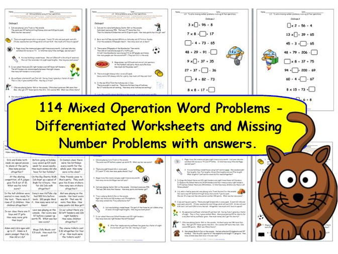 KS2 Y3 Y4 Over 100 Differentiated Word Problems Mixed Operations + Missing Number Problems.