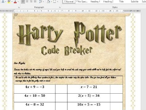 Harry Potter code breaker- Linear Equations