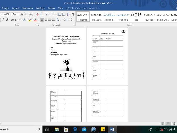 BTEC Component 2 Dance Student Assessment Booklet