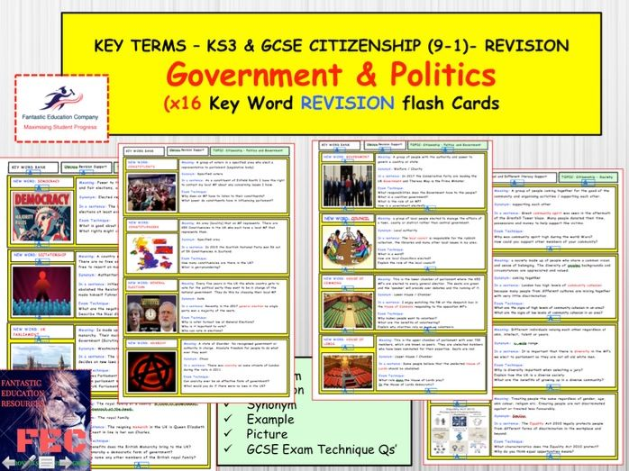 Government and Politics Revision Cards - GCSE Citizenship 9-1