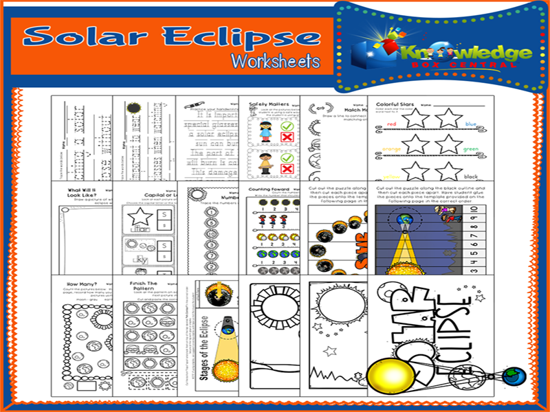Solar Eclipse Worksheets for PreK and Kindergarten
