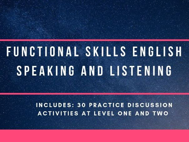 Speaking and listening ideas  - Functional Skills